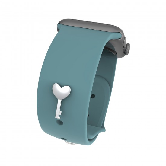 Smart Watch Band Charms For Apple Watch Straps Accessory Band Decorative Stud Charms Sport Silicone Band Charms-Heart Key Shape