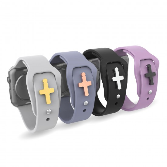 For Apple Watch Band Charms Smart Watch Band Decorative Stud Charms Sport Silicone Band Charms-Cross Shape