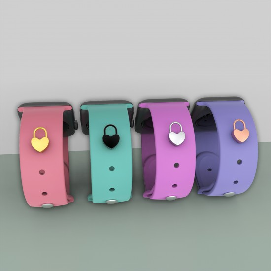 Heart Lock Shape Stud For Apple Watch Band Charms Watch Band Accessory Watch Straps Decorative Sport Silicone Band Chrams