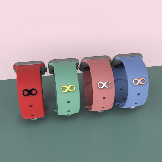 Watch Band Decorative Smart Watch Band Charms Fitbit Sport Silicone Band Accessory For Apple Watch Band 38mm 40mm 42mm 44mm-Infinity shape