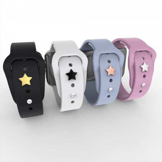 For Apple Watch Band Charms Smart Watch Band Accessory  Watch Straps Decorative Sport Silicone Straps Stud-Star Shape