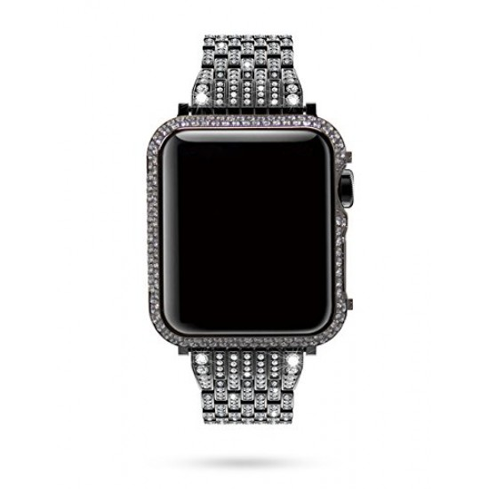 Callancity 42mm Metal Face Cover Rhinestone Crystal Diamond Bling Case Compatible Apple Watch Series 3 2 1 for Men/Women