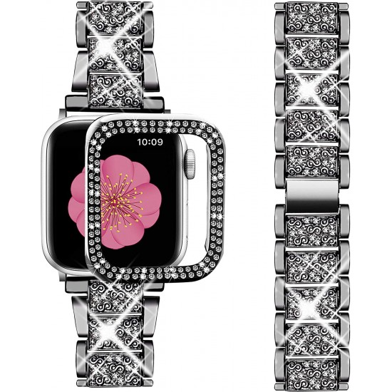 Compatible with Apple Watch Band 38mm + Case, Women Jewelry Bling Diamond Metal Strap & 2 Pack Bumper Frame Screen Protector for iWatch Series 3/2/1(Silver/38mm)