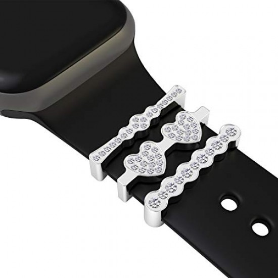 Callancity 3Pcs/Sets Metal Decorative Rings Loops Rhinestone Sparkling Diamond Rubber Strap Charms Compatible For Watch Sport Band Series 5/4/3/2/1 38mm 40mm 42mm 44mm (Platinum)