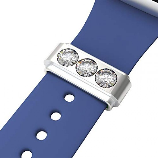 Callancity Watch Band Charms Luxury Design Decorative Ring Loops Silicone Strap Ornament Compatible For Smart Sport Watch Rubber Bracelet (Silver)