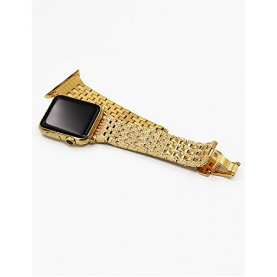 Callancity Watch Band Luxury Crystal Watch Bracelet Stainless Steel Metal Strap Compatible with Watch 38mm 40mm Series 6 5 4 3(Gold)