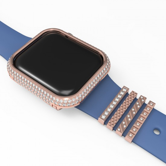 Diamond apple Watch bezel case Frame Protective Case With Jewelry Strap Ring for Apple Watch 38mm 42mm 40mm 44mm