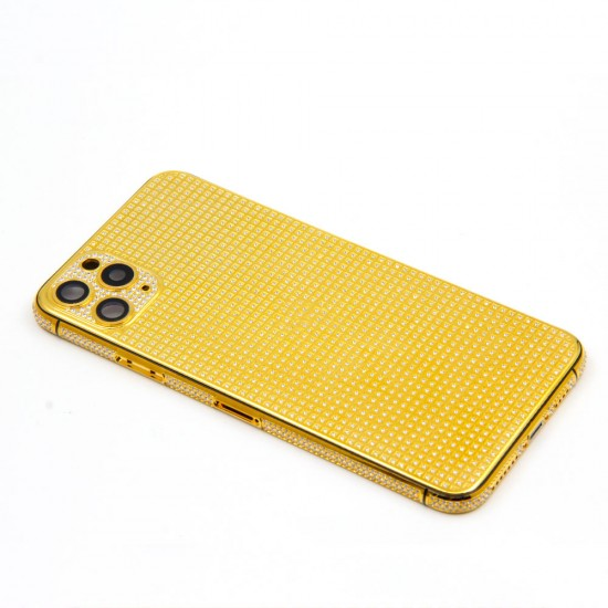 New Luxury Replacement Housing 24kt Gold Plated Compatible for Iphone 13Mini / 13 / 13Pro / 13ProMax with Full Diamonds