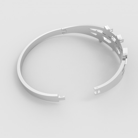 CallanCity New Style Bracelet Bangle Silver Stainless Steel Jewelry With Star Oval Adjustable Wristband