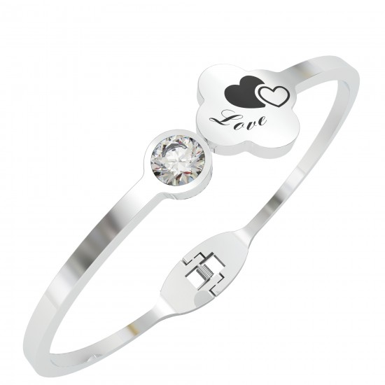 CallanCity Trendy Bracelet Fashion Four-Leaf Clover Wristband With Diamond High-Quality Jewelry Cuff Bangle Gifts For Family