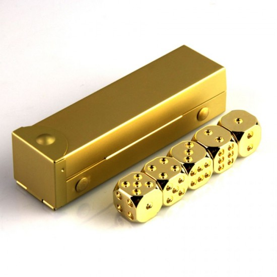 Canllancity Luxury 24kt Gold Plated  5 pcs Six-sided dice