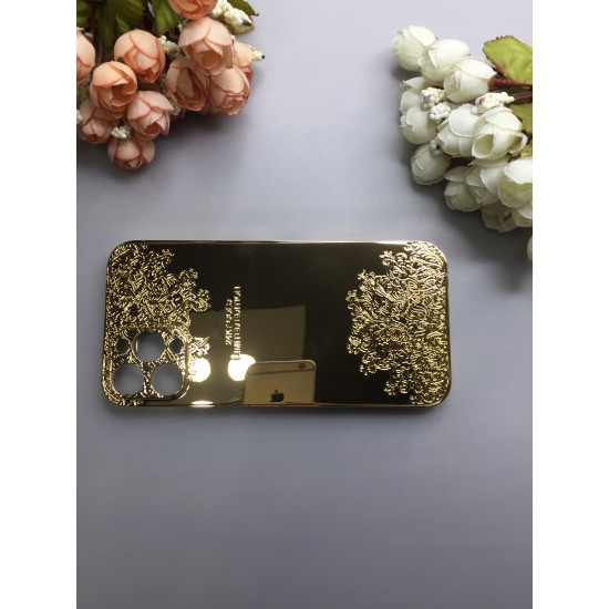 Callancity Customized Design Compatible For iPhone 12/12 Pro Max 24kt Gold Plated Replacement Housing Cover
