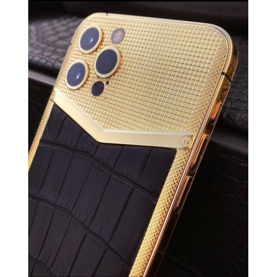 Custom Design Gold Housing for iPhone 12 pro Battery Cover Replacement Case Plated 24kt Gold CNC Engraved