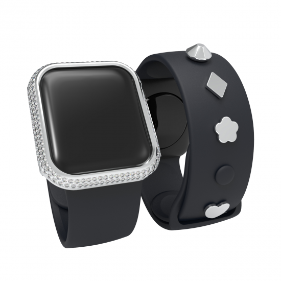 iWatch Case Compatible with Apple Watch Series Se 6 5 4 Stainless Steel Protective Case 40mm 44mm Sparkling Crystal Diamonds Bezel Cover Bumper with decorative nails for Man/Women (Not include watch&watch band)