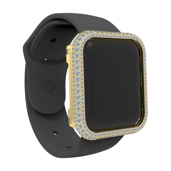 Compatible Bling Watch Bumper Metal Rhinestone Crystal Big Diamond Jewelry Bezel Case face Cover Compatible for Apple Watch Series 5 4 40MM 44mm