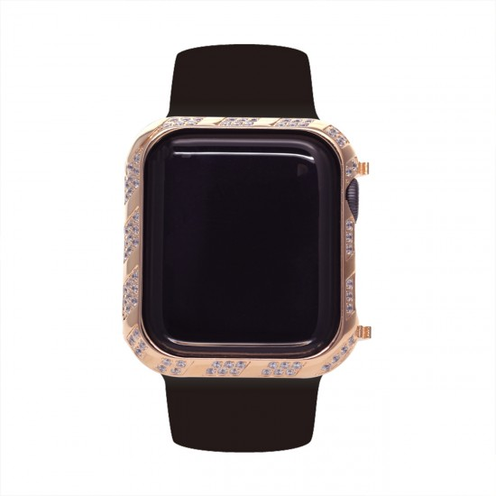 40mm 44mm Case Compatible with Apple Watch Case, Bling Frame Protective Case Screen Protector Compatible with Apple Watch Series 6/5/4 for iWatch SE, Gold rosegold silver black