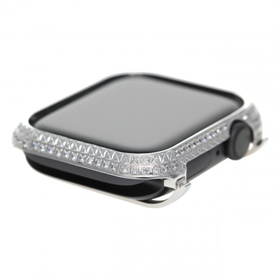 Callancity Rhinestone Crystal Diamond Bezel case Platinum Bling Exquisite Handcraft Encrusted Cover Compatible Apple Watch Series 6 5 4