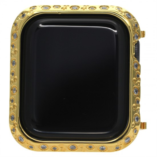 Watch Case for Apple Watch 44mm Studded with Shiny Rhinestone Crystal Diamond Stainless Steel Bezel Protective Cover Protector Embossed with Metal Design for iWatch Series 6 5 4