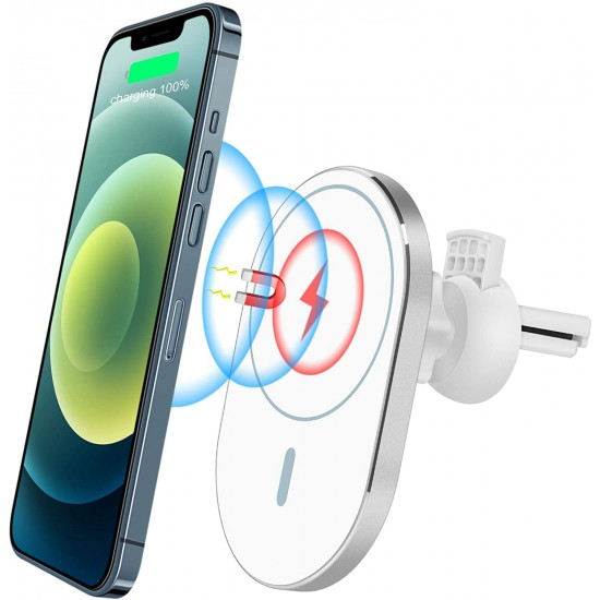 Magnetic Car Air Vent Mount Wireless Charger Phone Holder Compatible with iPhone 12 Series 15W Fast Charging Automatic Clamping 10W/7.5W/5W Design for iPhone 12 iPhone 12 Pro Max