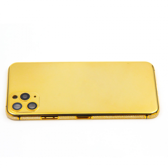 For iPhone 11 series pro pro max 24kt gold plated and diamond bezel housing replacement phone housing accessories luxury style