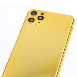 For iPhone 11 Series Pro Pro Max 24kt Gold Plated Inlay Diamond Bezel Housing Replacement Phone Housing Accessories Luxury Style