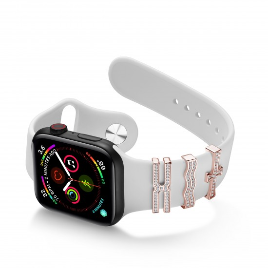 For Apple Watch Band 38mm 40mm 42mm 44mm Strap Ornament Sparkling Rings With Cross Design With/Without Diamonds for Iwatch Series1/2/3/4/5