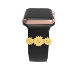 Apple Watch Unique Gearwheel Design Metal Decorative Rings Loops Valentine's Day Gift Compatible For Smart Watch Silicone Strap Band 38mm 40mm 42mm 44mm
