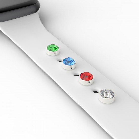 Decorative Studs Charm Watch Rubber Strap Adornment For Apple Watch Band 38mm 40mm 42mm 44mm