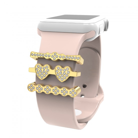 3Pcs/Sets watch band charms ornament zircon diamond metal Decorative Rings Loops Compatible For smart Watch Band Series 5/4/3/2/1 38mm 40mm 42mm 44mm